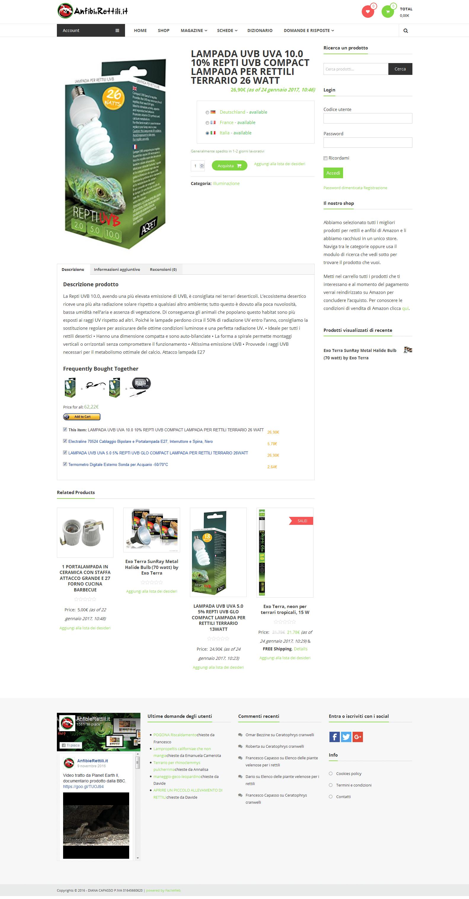 Un prodotto dello store per rettili di Anfibierettili.it
