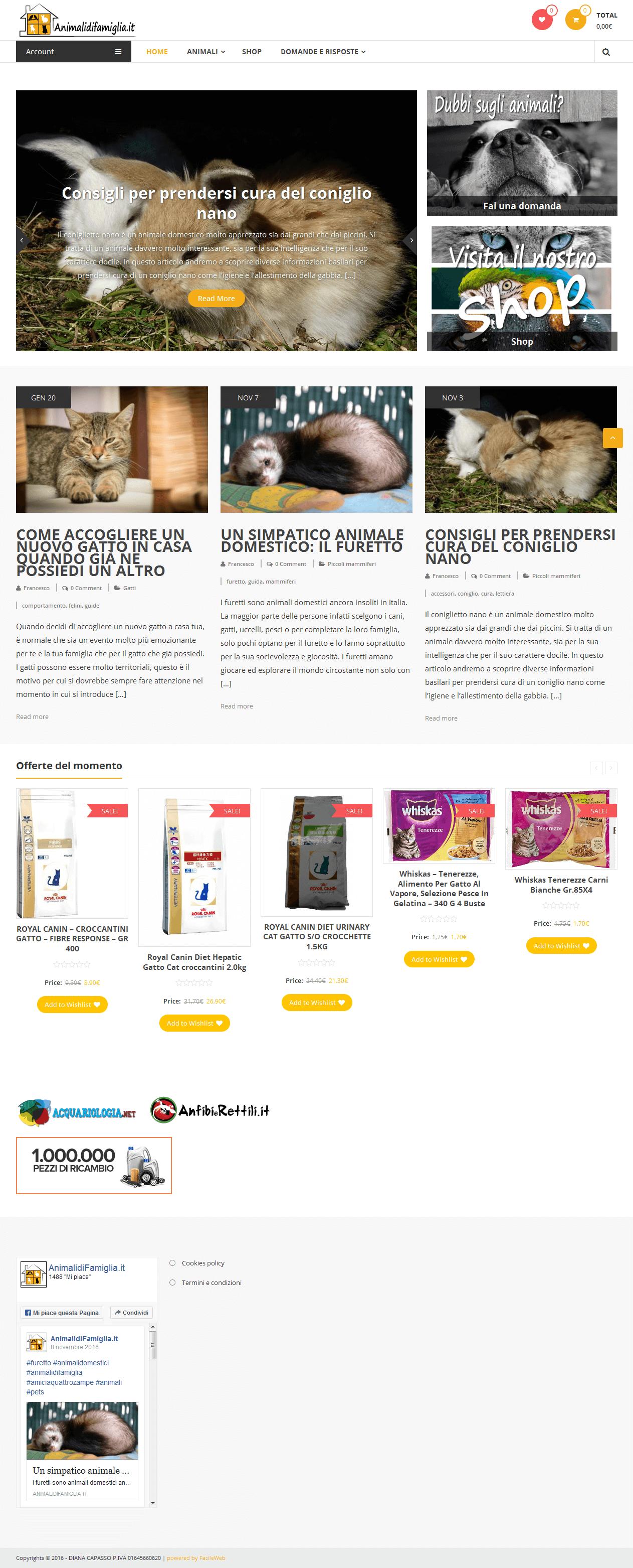 Screen sito intero animali di famiglia